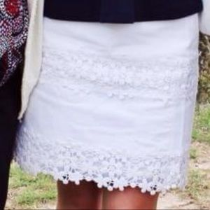 J.Crew white skirt with eyelit lace details